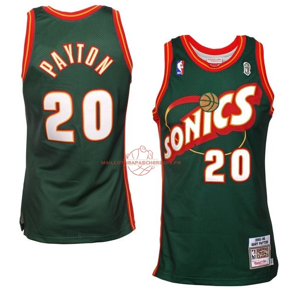 Achat Maillot NBA Seattle Supersonics NO.20 Gary Payton Retro Vert pas cher