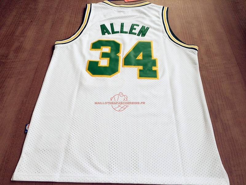 Achat Maillot NBA Seattle Supersonics NO.34 Ray Allen Retro Blanc pas cher