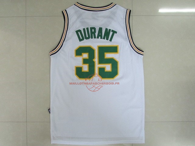 Achat Maillot NBA Seattle Supersonics NO.35 Kevin Durant Retro Blanc pas cher