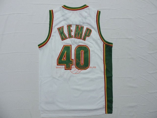 Achat Maillot NBA Seattle Supersonics NO.40 Shawn Kemp Retro Blanc pas cher