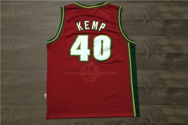 Achat Maillot NBA Seattle Supersonics NO.40 Shawn Kemp Retro Rouge pas cher
