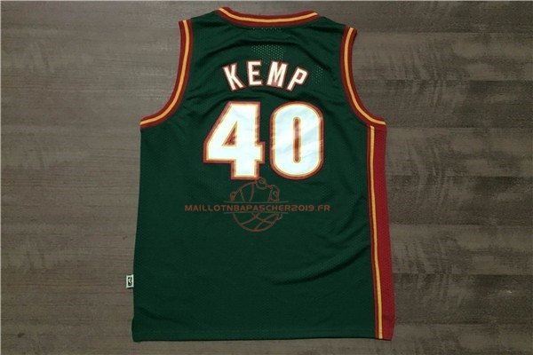 Achat Maillot NBA Seattle Supersonics NO.40 Shawn Kemp Retro Vert pas cher