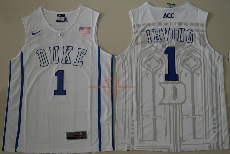 Achat Maillot NCAA Duke NO.1 Kyrie Irving Blanc pas cher