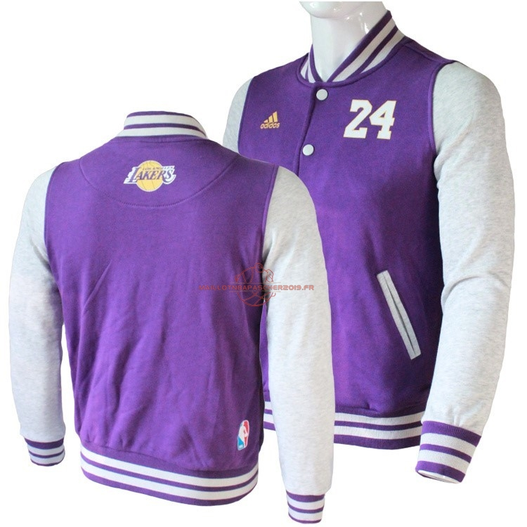 Achat Survetement En Laine NBA Los Angeles Lakers NO.24 Kobe Bryant Pourpre pas cher