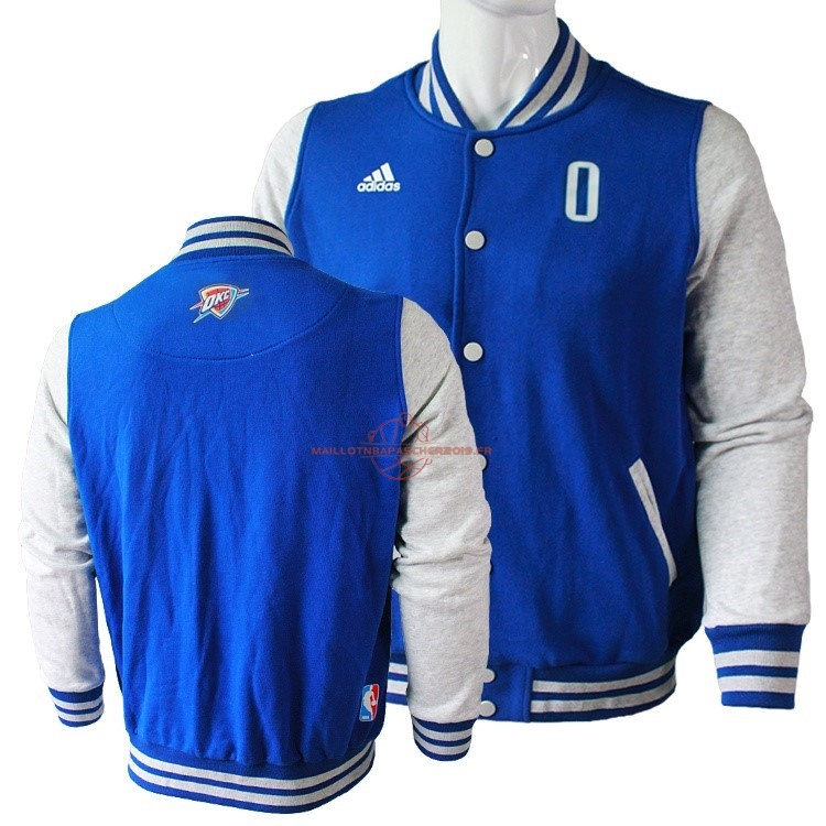 Achat Survetement En Laine NBA Oklahoma City Thunder NO.0 Russell Westbrook Bleu pas cher