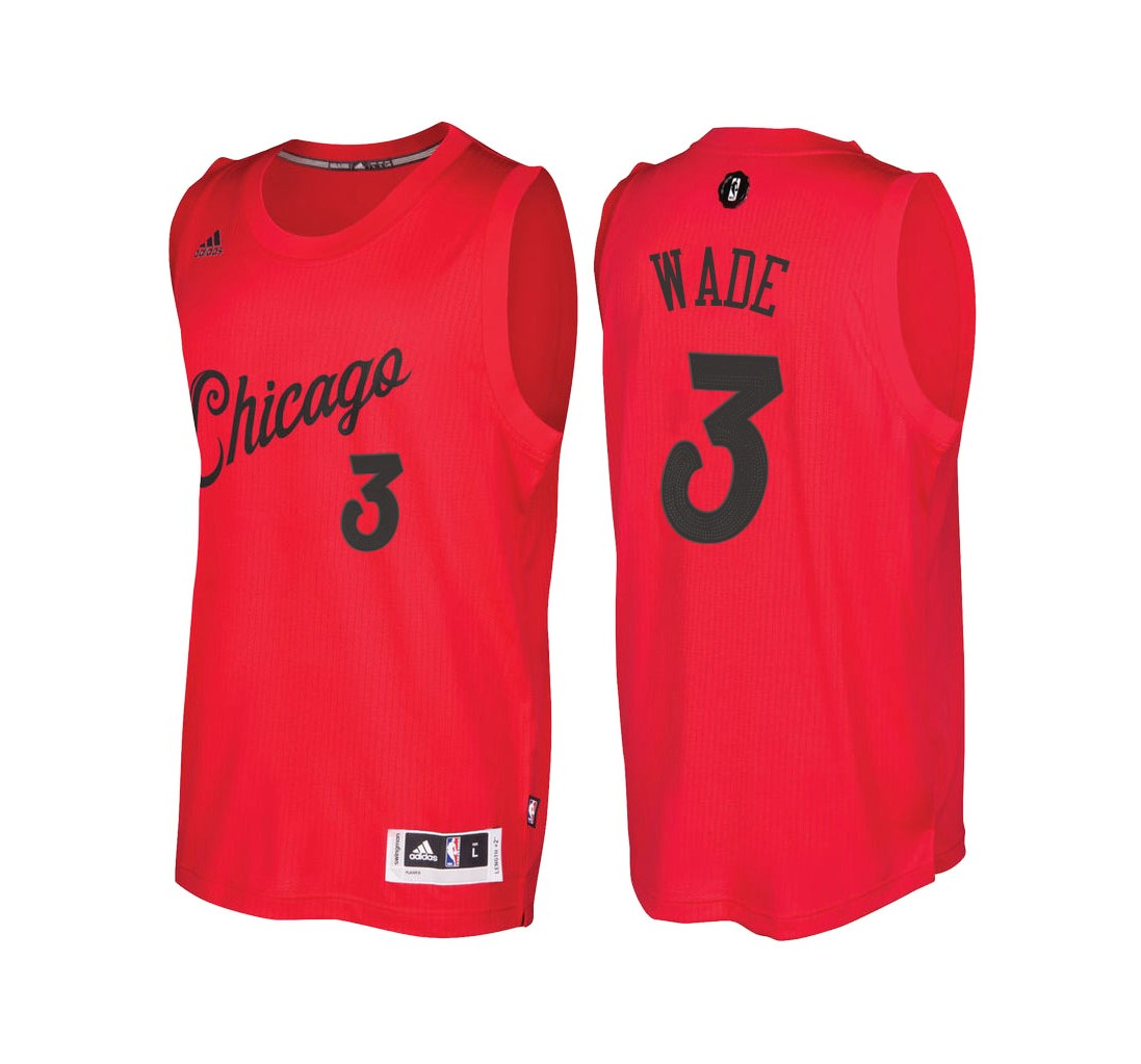 Achat Maillot NBA Chicago Bulls 2016 Noël NO.3 Dwyane Wade Rouge pas cher