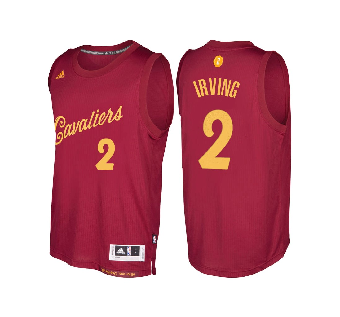 Achat Maillot NBA Cleveland Cavaliers 2016 Noël NO.2 Kyrie Irving Rouge pas cher