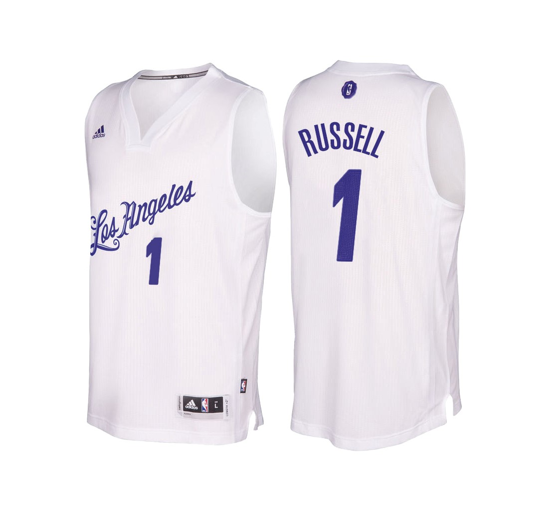 Achat Maillot NBA Los Angeles Lakers 2016 Noël NO.1 D'Angelo Russell Blanc pas cher